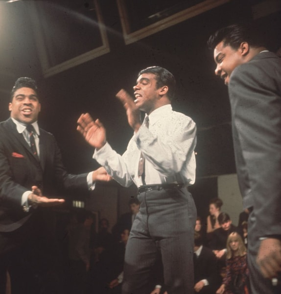 November 1964: Pop group The Isley Brothers performing on the television programme 'Ready Steady Go'.