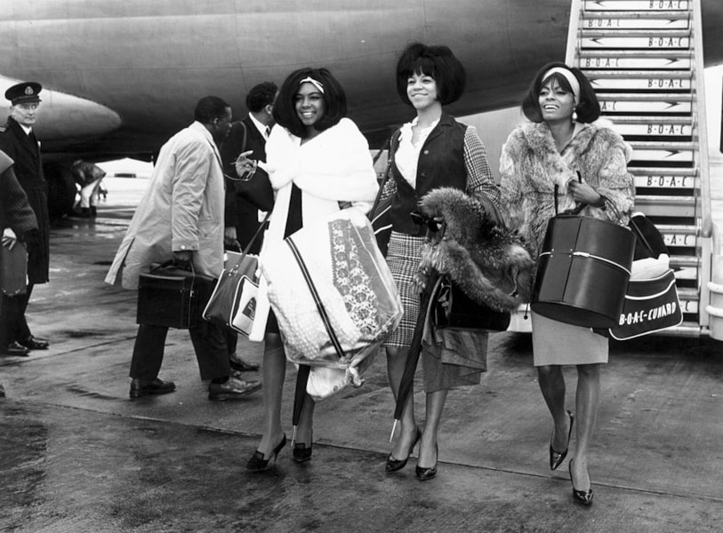 American Motown band The Supremes, left to right, Mary Wilson, Florence Ballard (1942 - 1976) and Diana Ross arrive at London's Heathrow Airport.