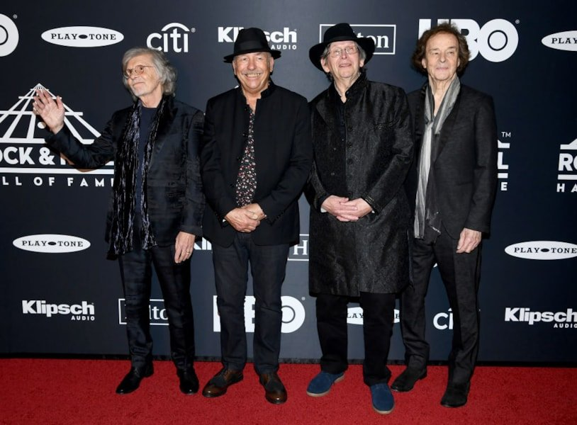 NEW YORK, NEW YORK - MARCH 29: Rod Argent, Hugh Grundy, Chris White, and Colin Blunstone of The Zombies attend the 2019 Rock & Roll Hall Of Fame Induction Ceremony at Barclays Center on March 29, 2019 in New York City. (Photo by Dimitrios Kambouris/Getty Images For The Rock and Roll Hall of Fame)