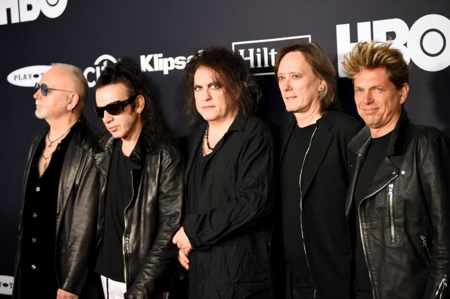 NEW YORK, NEW YORK - MARCH 29: (L-R) Inductees Reeves Gabrels, Simon Gallup, Robert Smith, Roger O'Donnell and Jason Cooper of The Cure attend the 2019 Rock & Roll Hall Of Fame Induction Ceremony at Barclays Center on March 29, 2019 in New York City. (Photo by Dimitrios Kambouris/Getty Images For The Rock and Roll Hall of Fame)