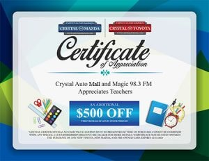 Crystal Auto Mall Certificate